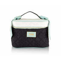 Betsey Johnson Nylon Heart Quilted Bow Train Top Handle Cosmetic Case Holder - Mint
