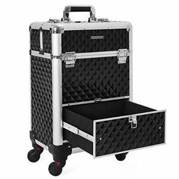 SONGMICS Rolling Train Case, 1 Large Sliding Drawer, 4 Sliding Trays, Aluminum Cosmetic Case with 4 Romovable Universal Wheels for Easy Portable Travel Black UJHZ07B