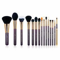 Jessup 15 Pcs Pro Makeup Brushes Makeup Brush Set Beauty Cosmetics Powder Foundation Eyeshadow Eyeliner Blending Lip Make Up Brush Tools Purple/Gold T095