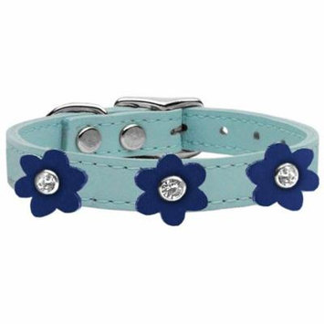 Flower Leather Collar Baby Blue With Blue Flowers Size 14
