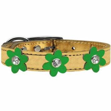 Metallic Flower Leather Collar Gold With Metallic Emerald Green Flowers Size 10