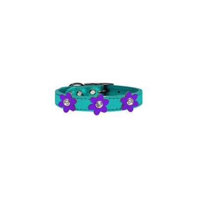 Metallic Flower Leather Collar Metallic Turquoise With Metallic Purple Flowers Size 14