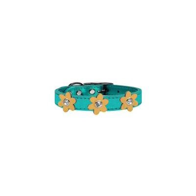 Metallic Flower Leather Collar Metallic Turquoise With Gold Flowers Size 26