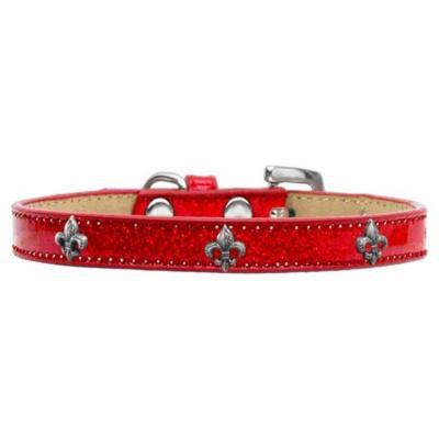 Silver Fleur De Lis Widget Dog Collar Red Ice Cream Size 12