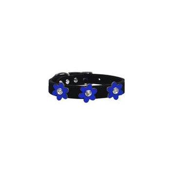 Metallic Flower Leather Collar Black With Metallic Blue Flowers Size 24