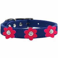 Flower Leather Collar Blue With Bright Pink Flowers Size 26