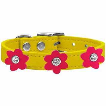 Flower Leather Collar Yellow With Bright Pink Flowers Size 12