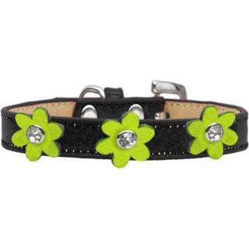 Metallic Flower Ice Cream Collar Black With Metallic Lime Green Flowers Size 16