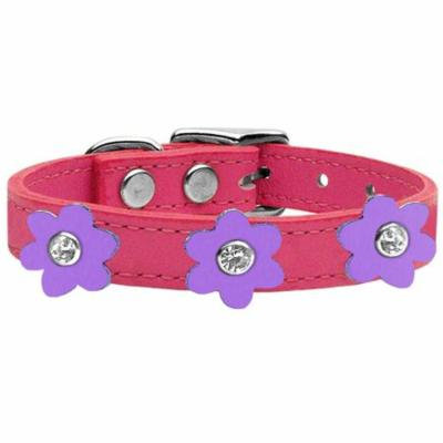 Flower Leather Collar Pink With Lavender Flowers Size 18