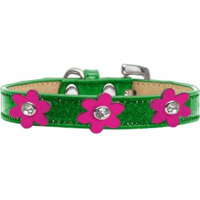 Metallic Flower Ice Cream Collar Emerald Green With Metallic Pink Flowers Size 12