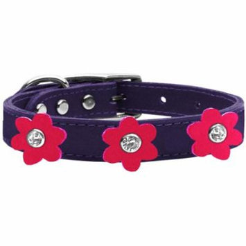 Flower Leather Collar Purple With Bright Pink Flowers Size 18