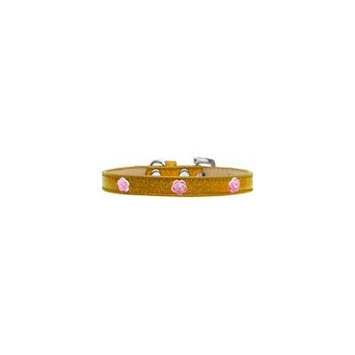 Bright Pink Rose Widget Dog Collar Gold Ice Cream Size 20