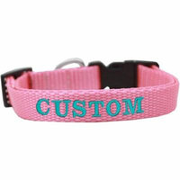 Custom Embroidered Made In The Usa Nylon Cat Safety Collar Pink