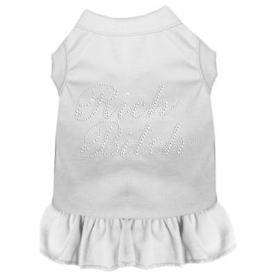 Rhinestone Rich Bitch Dress White Lg (14)