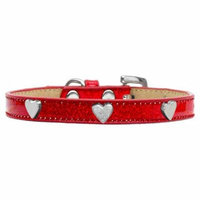 Silver Heart Widget Dog Collar Red Ice Cream Size 20