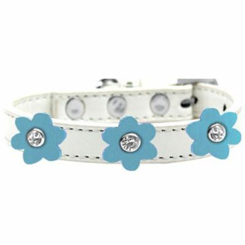 Flower Premium Collar White With Baby Blue Flowers Size 14