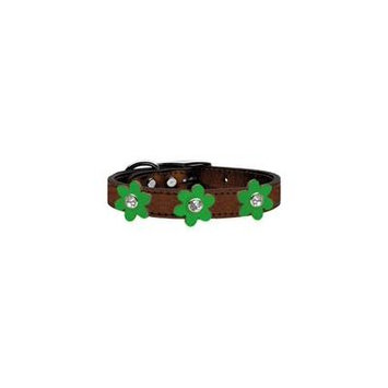 Metallic Flower Leather Collar Bronze With Metallic Emerald Green Flowers Size 26