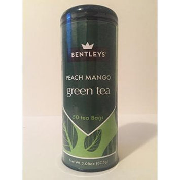 Bentley's tranquility line peach mango green tea 50 tea bags (pack of 3)