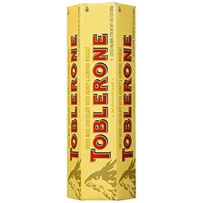 TOBLERONE SWISS MILK CHOCOLATE WITH HONEY AND ALMOND NOUGAT Special Size 3 Pack ( 18 Bars, 3.52 OZ Each) by Toblerone