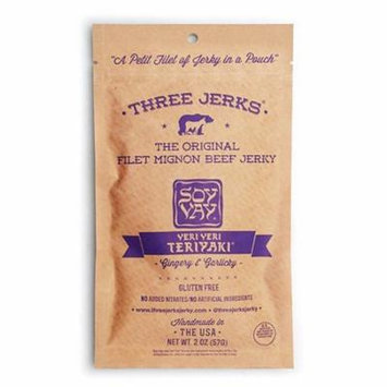Three Jerks The Original Filet Mignon Beef Jerky - Soy Vay Veri Veri Teriyaki 2 oz Pouches - Pack of 6