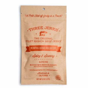 Three Jerks The Original Filet Mignon Beef Jerky - Memphis Brand BBQ Recipe 2 oz Pouches - Pack of 3