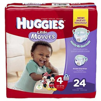 Huggies little movers diapers step 4 jumbo pack part no. 40767 (96/case)
