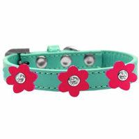 Flower Premium Collar Aqua With Bright Pink Flowers Size 16