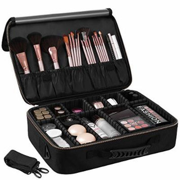 SONGMICS Makeup Train Case with 9 Adjustable Dividers Cosmetic Bag Organizer Travel Kit Artist Case with Brush Holders Black UMUC21BK