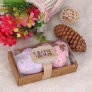 2Pcs/Box Bath Bombs, Lotus.flower Handmade Organic Bath Sea Salts Made Fizzies Body Scrub Dry Skin Moisturize - Perfect for Bubble & Spa Bath (Heart Shape)