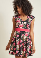 Modcloth The Story of Citrus Floral Dress in Noir Blossom