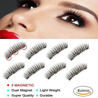 Ultra Thin 3D New Magnetic False Eyelashes Fiber Reusable Lashes Extension for Natural Look,Perfect for Deep Eyes & Round Eyes (Three Magnetic False Eyelashes)