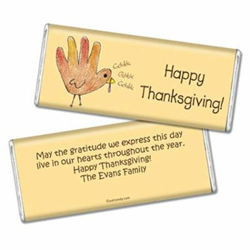 Thanksgiving Personalized Chocolate Bar (Fully Assembled) Child's Handprint Turkey (24 Count)