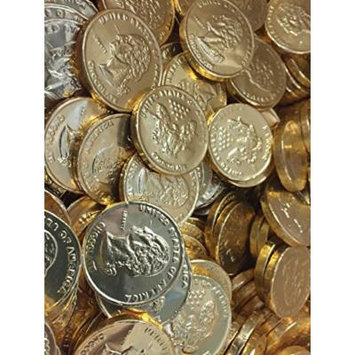 Solid Gourmet Milk Chocolate Large Gold Coins - Green Gold Silver and Pink / Purple - 2 Full Pounds Bulk Wholesale (Traditional Gold)
