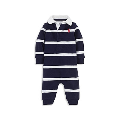 Ralph Lauren Childrenswear Infant Boys' Striped Rugby Coverall - Sizes 3-9 Months