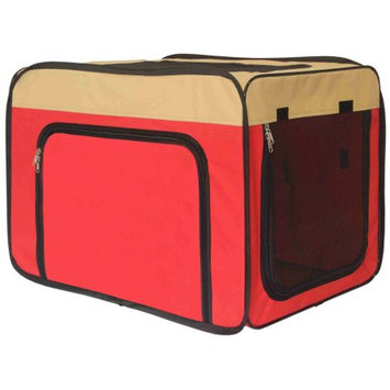 Aleko Products Heavy Duty Indoor / Outdoor Portable Pop Up Dog Crate Red