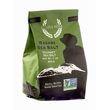 Wasabi Sea Salt , Non GMO Verified , All Natural , Bulk Seasoning , 1LB , Crafted in Small Batches by Gustus Vitae , #A4