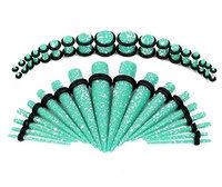 Bodyj4you 36 pcs Gauges Kit 14G-00G Spots Aqua Acrylic Tapers Plugs O-Ring