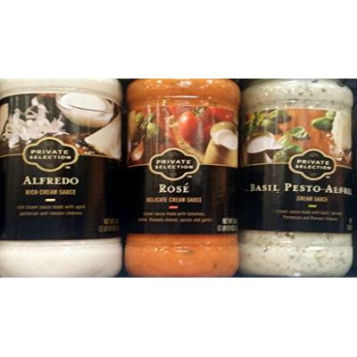 Private Selection Pasta Sauce, Variety Pack of 3 Flavors, Alfredo, Rose, Basil Pesto Alfredo 16.9 Oz