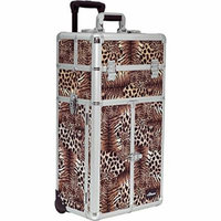 Sunrise Scuero 2-In-1 Rolling Makeup Case Professional Nail Travel Organizer Box, Leopard, 22 Pound