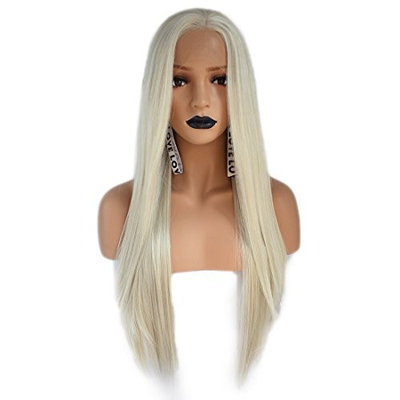 Anogol Hair Cap+Light Platinum Blonde Color Straight Synthetic Lace Front Wig For Women Daily Makeup Wigs Hairstyles
