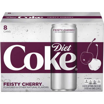 Diet Coke Feisty Cherry Soda Slim Can, 12 Fl Oz, 8 Count