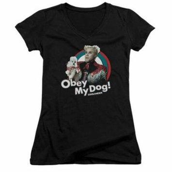 Trevco Zoolander-Obey My Dog Junior V-Neck Tee, Black - 2X