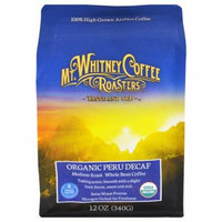 Mt. Whitney Coffee Roasters, Organic Peru Decaf, Whole Bean, 12 oz (pack of 6)