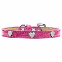 Silver Heart Widget Dog Collar Pink Ice Cream Size 12