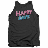Trevco Happy Days-Happy Days Logo - Adult Tank Top - Charcoal, Medium
