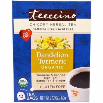 Teeccino, Chicory Herbal Tea, Organic Dandelion Turmeric, Caffeine Free, 10 Tea Bags, 2.12 oz (pack of 6)