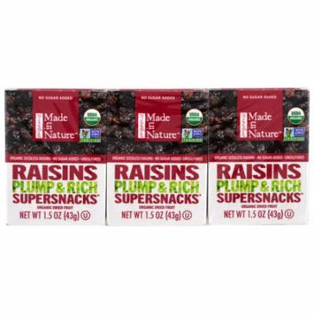 Made in Nature, Organic Dried Fruit, Raisins, 6 Pack, 1.5 oz (42 g) Each(pack of 1)