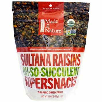 Made in Nature, Organic Sultana Raisins Oh-So-Succulent Supersnacks, 15 oz (pack of 2)