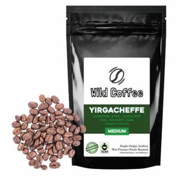 Wild Coffee Beans | Yirgacheffe Medium-Light Roast Ethiopian Organic Fair Trade - 12oz