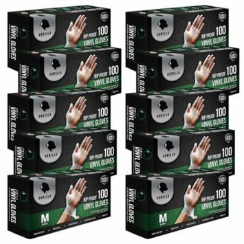 Gorilla Supply Rip-Proof Vinyl Gloves, Medium - 1000 count, 10 boxes of 100